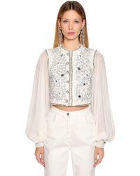 Etro - Embellished Cotton Blend Bolero Jacket - Lyst