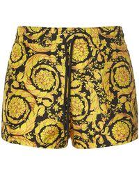 Versace Badeshorts Aus Nylon Mit Baroque-druck - Gelb