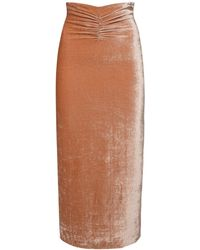 Alessandra Rich Stretch Viscose & Silk Velvet Midi Skirt - Natural