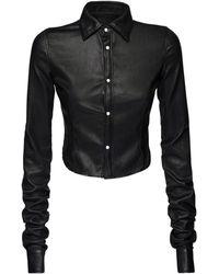 DSquared² クロップドレザーシャツ - ブラック