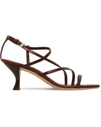 STAUD 60mm Gita Croc Embossed Leather Sandals - Коричневый