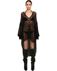 Saint Laurent Полупрозрачное Платье-кафтан Из Макраме - Черный