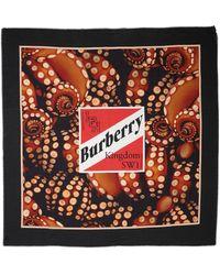 Burberry Платок Из Хлопк И Шелка С Логотипом - Красный