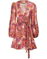 Zimmermann Fiesta Printed Linen Wrap Dress - Red