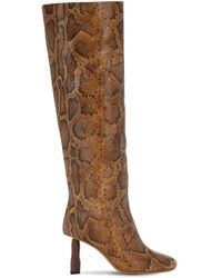 Rejina Pyo 80mm Snake Print Leather Tall Boots - Brown