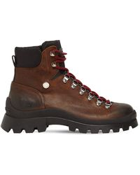DSquared² Crosta Ingrassato Leather Hiking Boots - Brown