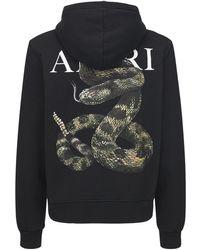 Amiri Snake Cotton Jersey Hoodie - Black