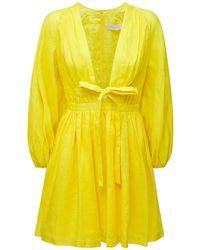 Zimmermann Платье Из Льна С Бантом - Желтый