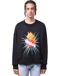 Palm Angels Sweat-Shirt En Jersey Imprimé Coeur - Noir