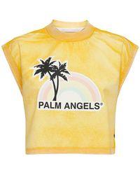 Palm Angels T-shirt Aus Baumwolle, Lvr Exclusive - Gelb