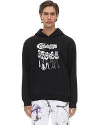 Siberia Hills Laminated Animé Cotton Sweatshirt Hoodie - Black