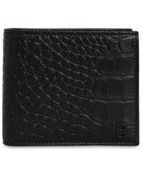 Balenciaga Croc Embossed Leather Billfold Wallet - Black