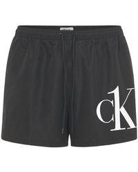 Calvin Klein Badeshorts Aus Nylon Mit Logo - Schwarz