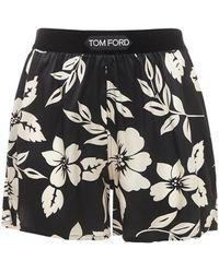 Tom Ford Floral シルクサテンショートパンツ - ブラック