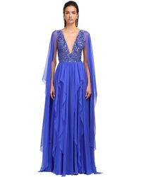 Zuhair Murad Embellished Silk Chiffon Gown - Blue