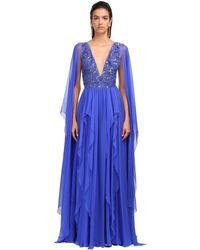Zuhair Murad Платье Из Шёлкового Шифона С Вышивкой - Синий
