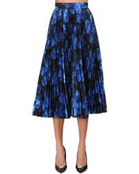 Richard Quinn Pleated Print Taffeta Circle Midi Skirt - Blue