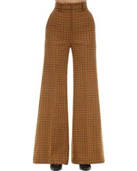 Khaite Flared Virgin Wool Gingham Felt Pants - Braun