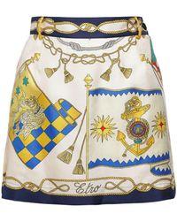 Etro Шорты-юбка Из Шёлковой Саржи С Принтом - Многоцветный