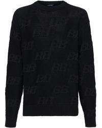 Balenciaga Bb ビスコースブレンドジャカードセーター - ブラック