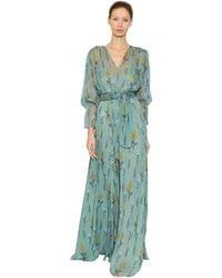 Luisa Beccaria Floral Printed Silk Chiffon Dress - Blue