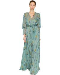 Luisa Beccaria Kleid Aus Seidenchiffon Mit Blumendruck - Blau
