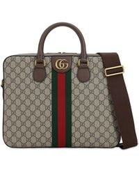 Gucci Gg Supreme Ophidia Briefcase Bag - Natural