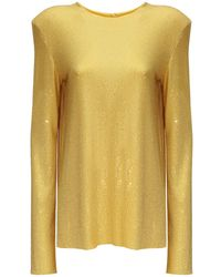 Alexandre Vauthier Crystal Embellished Top W/ Open Back - Yellow