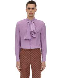 Gucci シルククレープ Ggシャツ - パープル