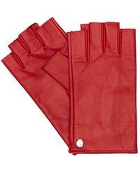 Mario Portolano Fingerless Leather Gloves - Red