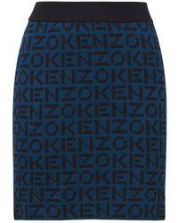 KENZO Monogram ウールブレンドミニスカート - ブルー