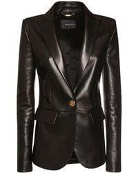 Versace Single Breast Leather Jacket - Black
