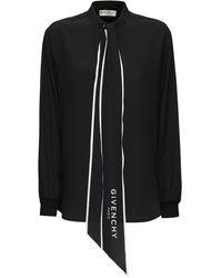 Givenchy Рубашка Из Шелкового Крепа - Черный