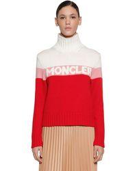 Moncler Pullover Aus Wolle Und Kaschmir Mit Logointarsie - Rot