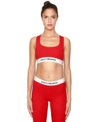 Paco Rabanne - Logo Band Cotton Jersey Sports Bra - Lyst