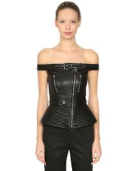 Moschino | Off The Shoulder Faux Leather Top | Lyst