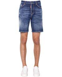 DSquared² Shorts Boxer Fit In Denim Di Cotone 36cm - Blu