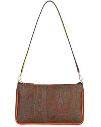 Etro Paisley Print Coated Cotton Bag - Brown