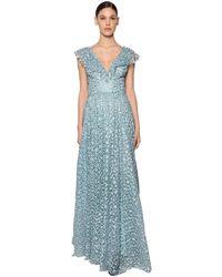 Luisa Beccaria Long Embroidered Chiffon Dress - ブルー