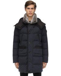 Peuterey Cotton Blend Down Jacket W/ Fur - Blau