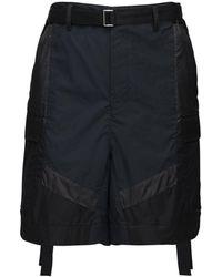 Sacai Cargo-shorts Aus Nylon Mit Mehreren Texturen - Schwarz