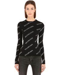 Balenciaga Pullover Aus Strickripp Mit Logodruck - Schwarz