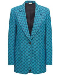 Gucci Куртка Из Смешанного Хлопка Gg Multicolor - Синий