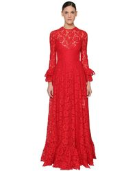 Valentino Flare-cuffed Heavy Lace Gown - Red