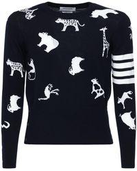 Thom Browne Animals Intarsia Wool Sweater - Blue