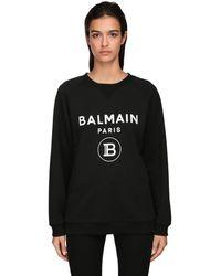Balmain Хлопковый Свитшот С Логотипом - Черный