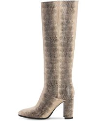 Strategia 80mm Lizard Print Leather Tall Boots - Natural