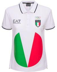 EA7 Italian Olympic Team Iconic Polo - White