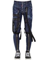 DSquared² 15cm Military Cotton Denim Jeans - Blue
