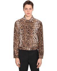 Versace Camisa De Seda Con Estampado De Leopardo - Marrón